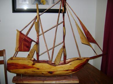 Chainsaw Carved Pirate Ship Red Cedar Sculpture